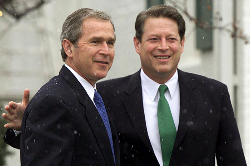 an evaluation of the hot 2000 election campaigns between al gore and george w bush Following the us supreme court's decision in bush vpalm beach county canvassing board, and concurrent with vice president al gore's contest of the certification of florida presidential election results, on december 8, 2000 the florida supreme court ordered that the circuit court in leon county tabulate by hand 9000 contested ballots from.