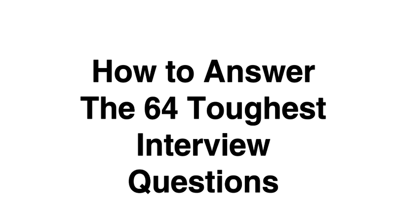 how to answer interview questions pdf