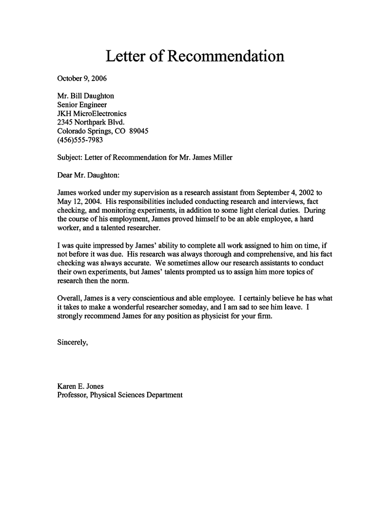 free recommendation letter download