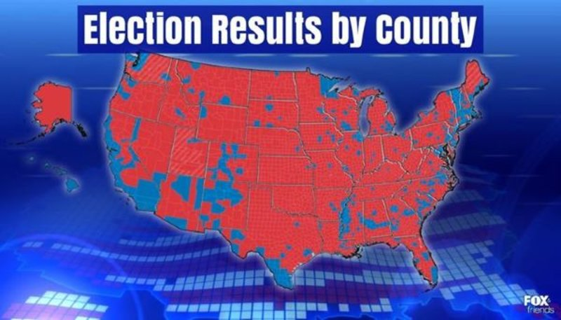 Fox Friends Presidential Election Results By County Show - 2016 us election results county map