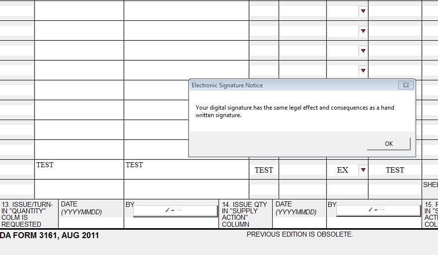 the use of digital signatures to sign hand receipts and supporting