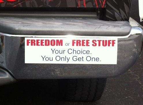 Freedom or free stuff