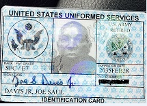 Military ID Cards provide access to many services and benefits such as Tricare, legal assistance, education benefits, use of morale and welfare activities, commissaries, exchanges and of course discounts at many restaurants and stores.