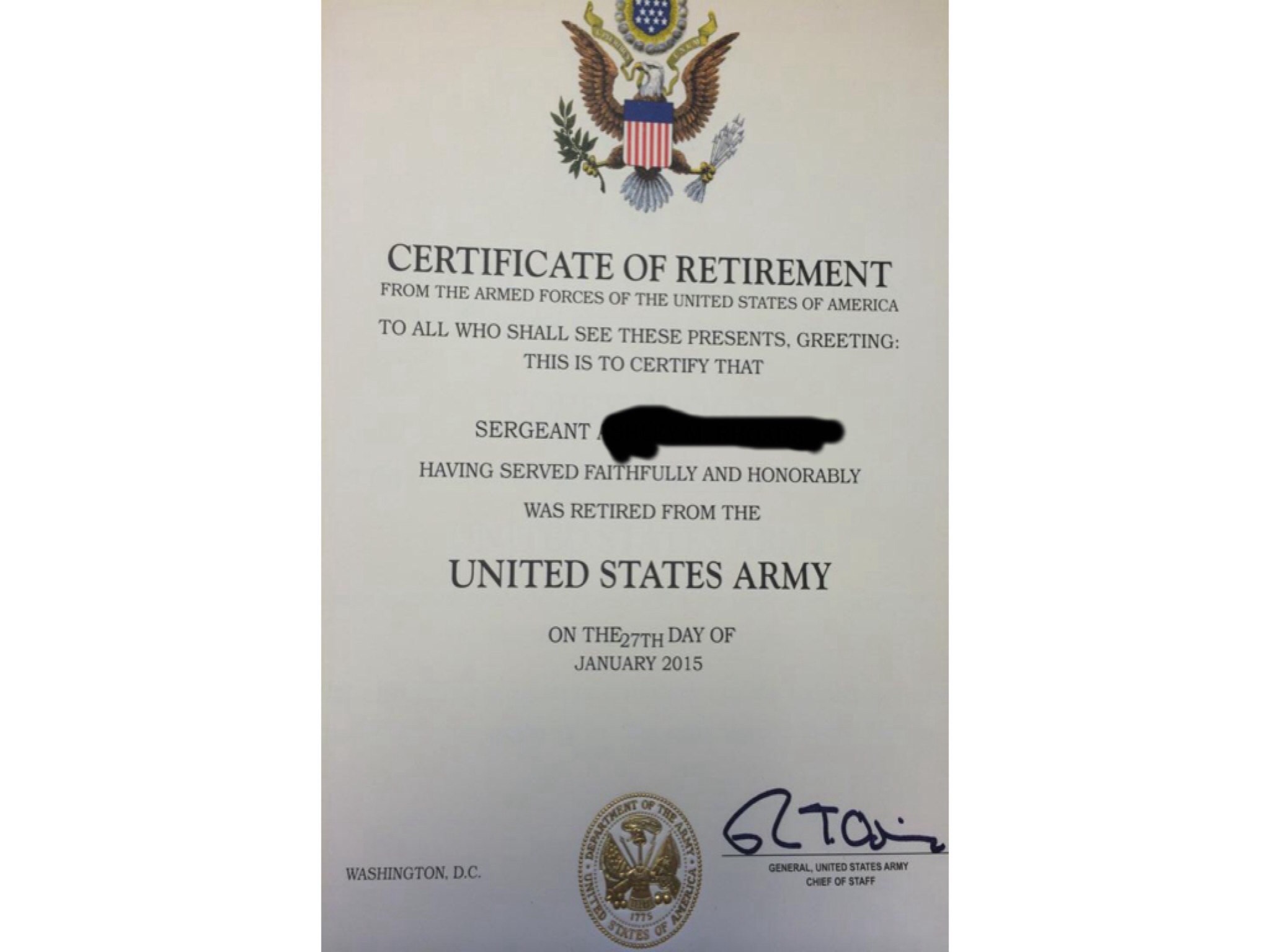 Should Medically Retired Get The Same Certificate As Those That Did