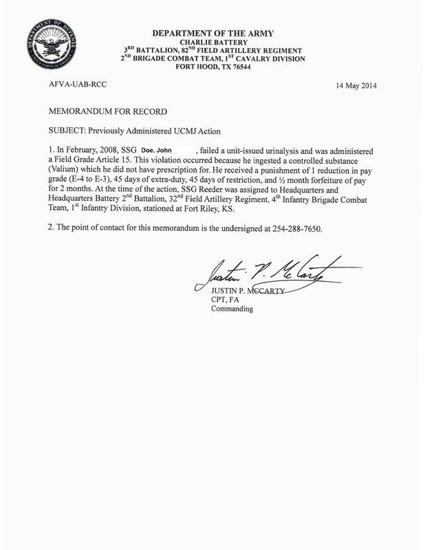 example of a memorandum for record