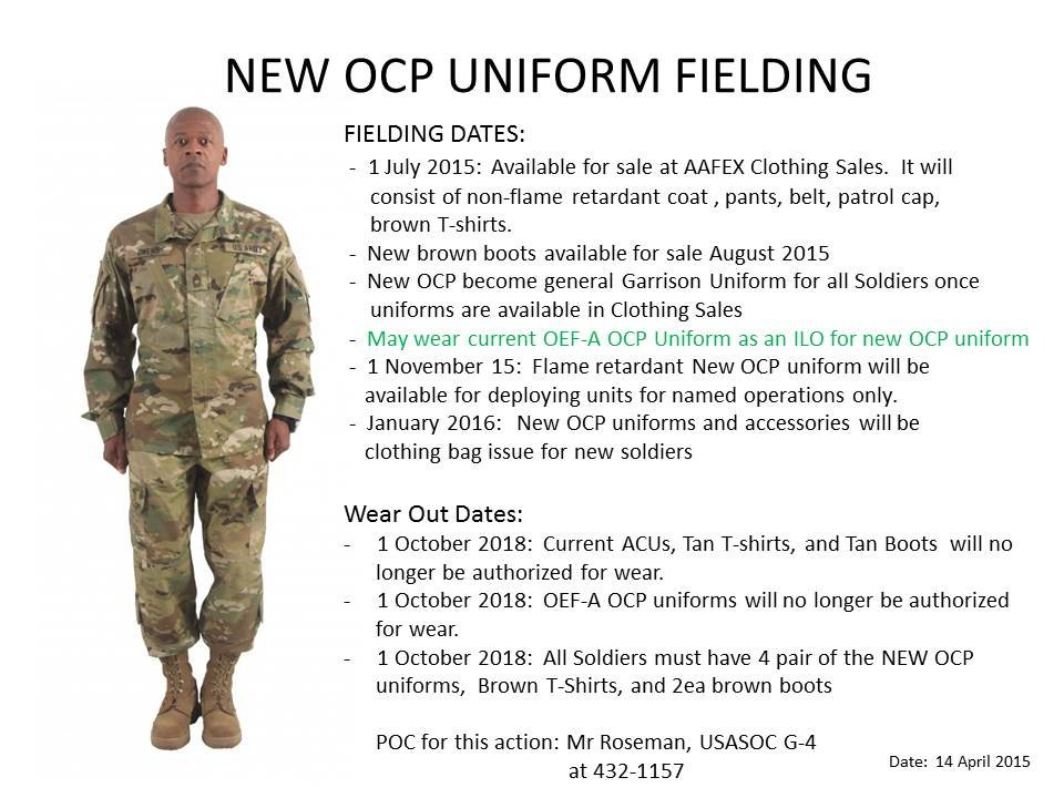 New Army OCP Timeline (As of 01 July, are we authorized to wear the