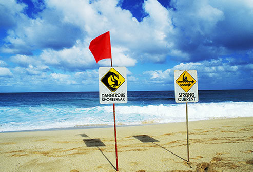 Getty_rm_photo_of_surf_warning_flag_and_signs