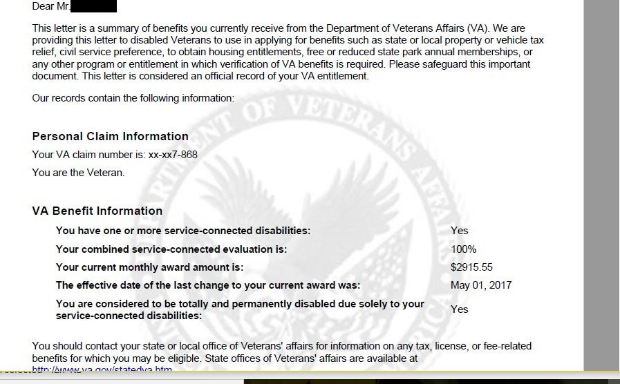 What type of benefits does 100 % VA disability get you per state