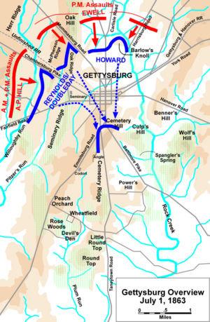 The Battle Of Gettysburg Begins Jul HISTORYcom - Gettysburg us map